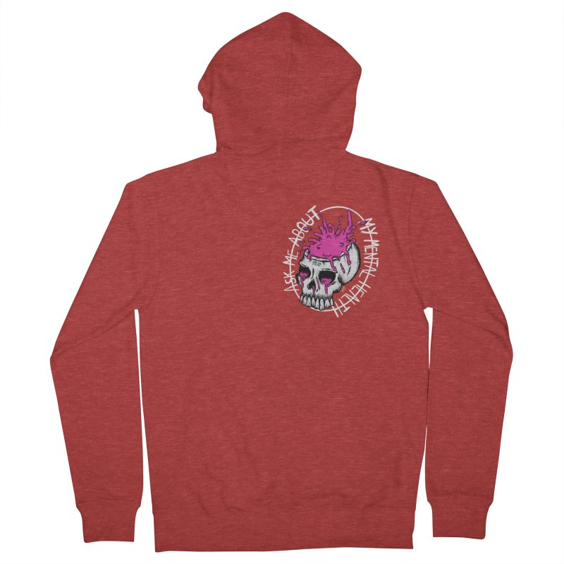 Ask me about my mental health Men's French Terry Zip-Up Hoody by ZOMBIETEETH
