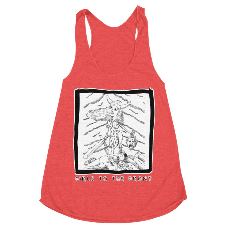 Girls to the front Women's Racerback Triblend Tank by ZOMBIETEETH
