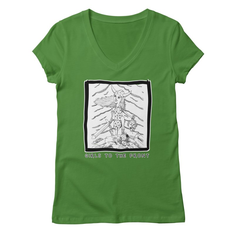 Girls to the front Women's Regular V-Neck by ZOMBIETEETH