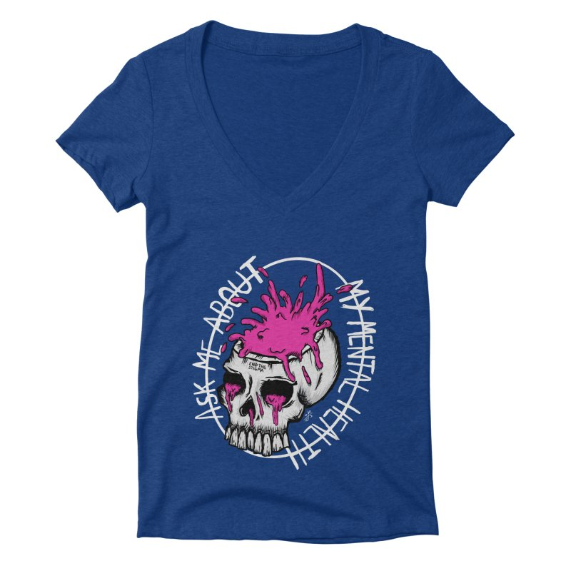 Ask me about my mental health (full size) Women's Deep V-Neck V-Neck by ZOMBIETEETH