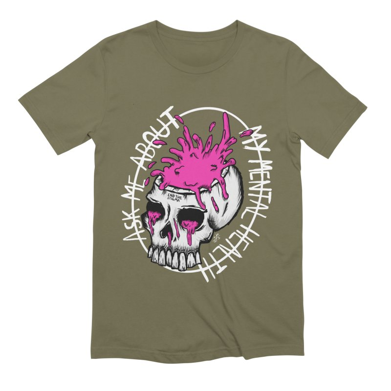 Ask me about my mental health (full size) Men's Extra Soft T-Shirt by ZOMBIETEETH