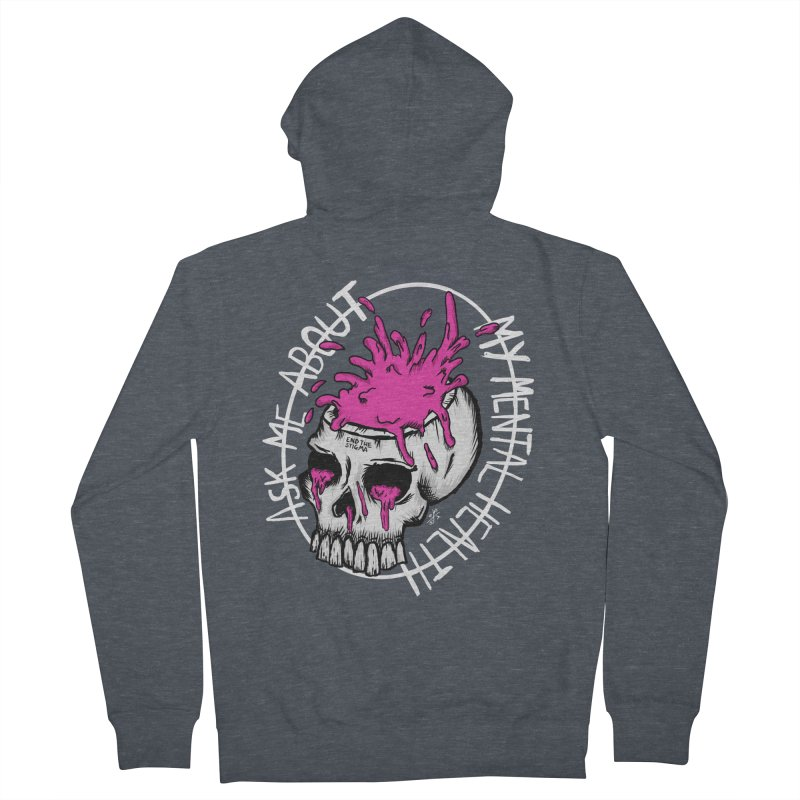 Ask me about my mental health (full size) Men's French Terry Zip-Up Hoody by ZOMBIETEETH