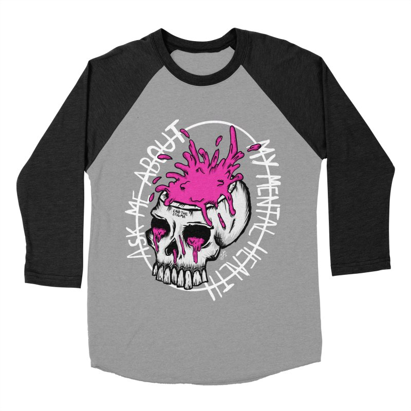 Ask me about my mental health (full size) Men's Baseball Triblend Longsleeve T-Shirt by ZOMBIETEETH
