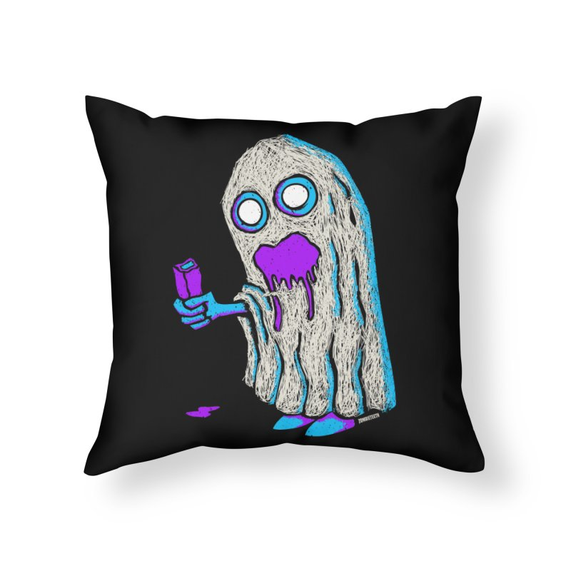 Trick or Treat Home Throw Pillow by ZOMBIETEETH