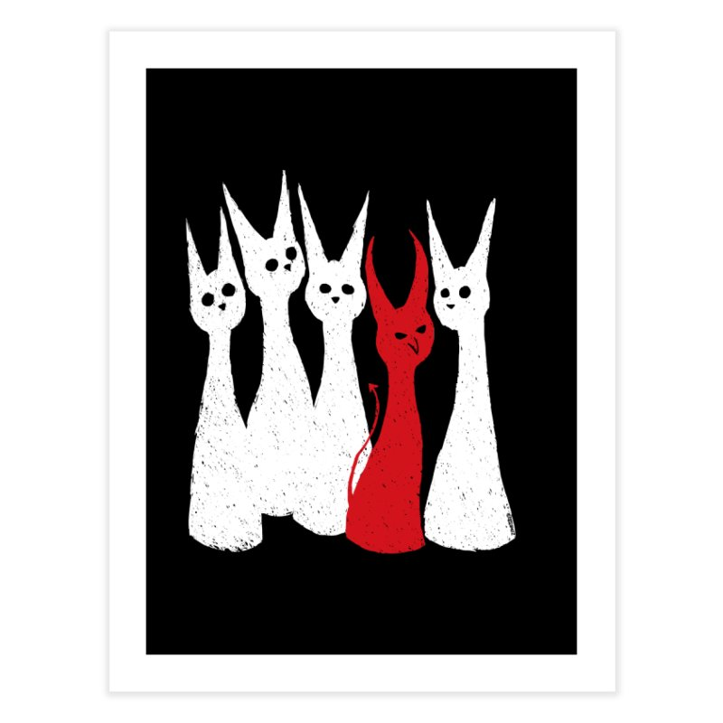 5 Cats Home Fine Art Print by ZOMBIETEETH