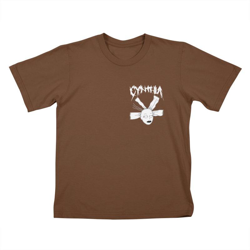 Cynthia chest print Kids T-Shirt by ZOMBIETEETH