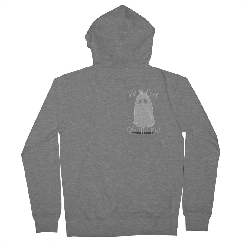 Give me Pizza and Songs about Death Chest print Men's French Terry Zip-Up Hoody by ZOMBIETEETH