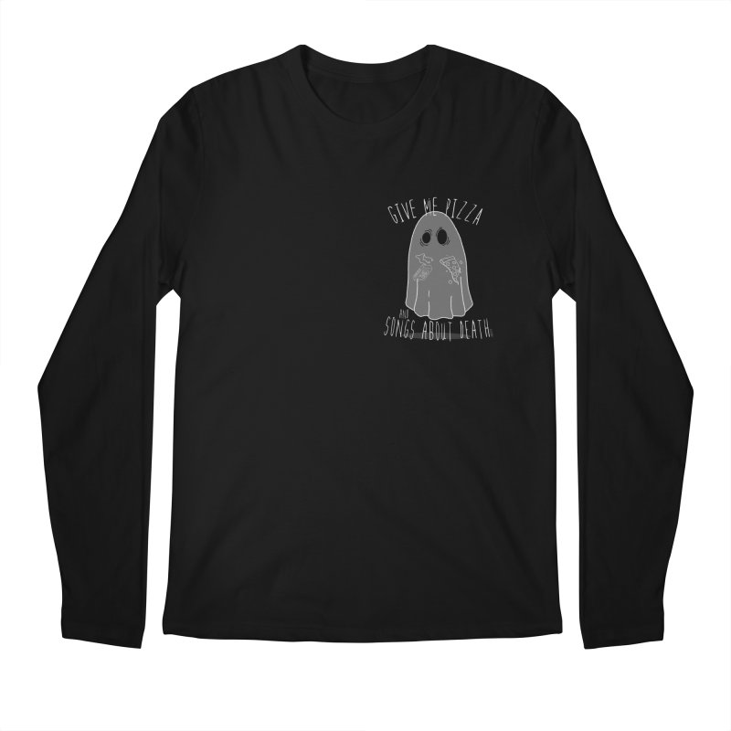 Give me Pizza and Songs about Death Chest print Men's Regular Longsleeve T-Shirt by ZOMBIETEETH