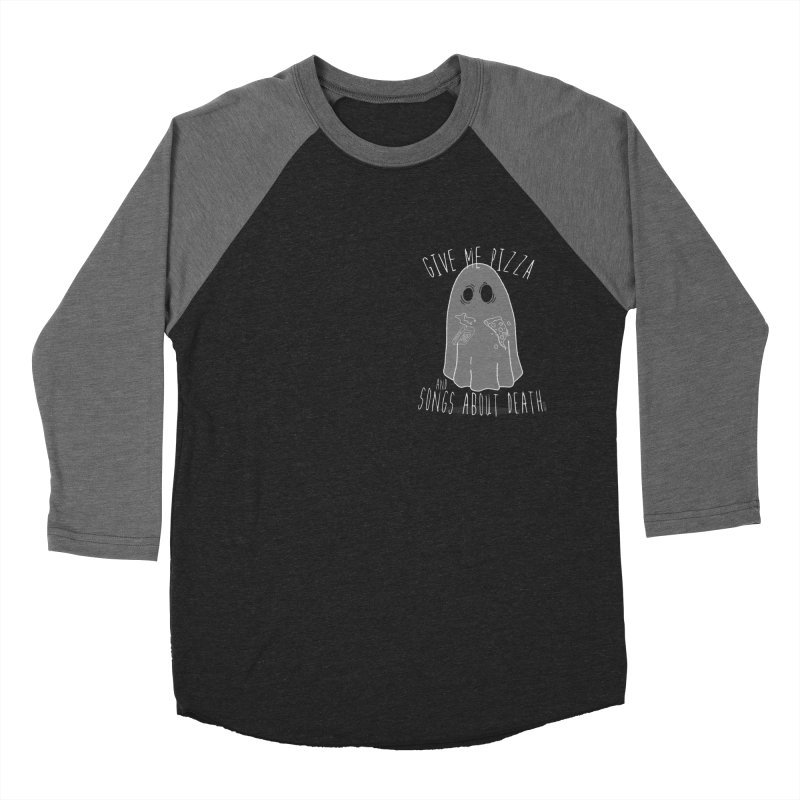 Give me Pizza and Songs about Death Chest print Women's Baseball Triblend Longsleeve T-Shirt by ZOMBIETEETH