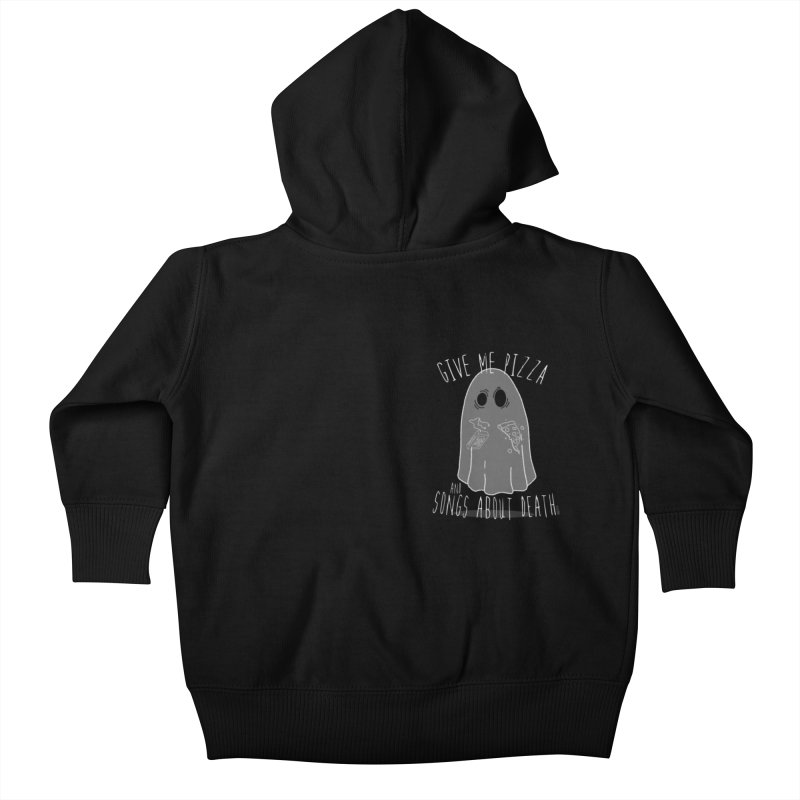 Give me Pizza and Songs about Death Chest print Kids Baby Zip-Up Hoody by ZOMBIETEETH