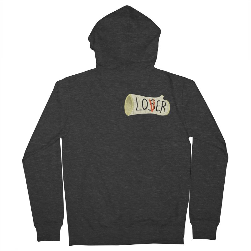 Losers club chest print Women's French Terry Zip-Up Hoody by ZOMBIETEETH