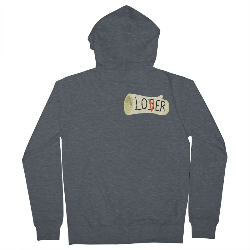 Losers club chest print Men's French Terry Zip-Up Hoody by ZOMBIETEETH