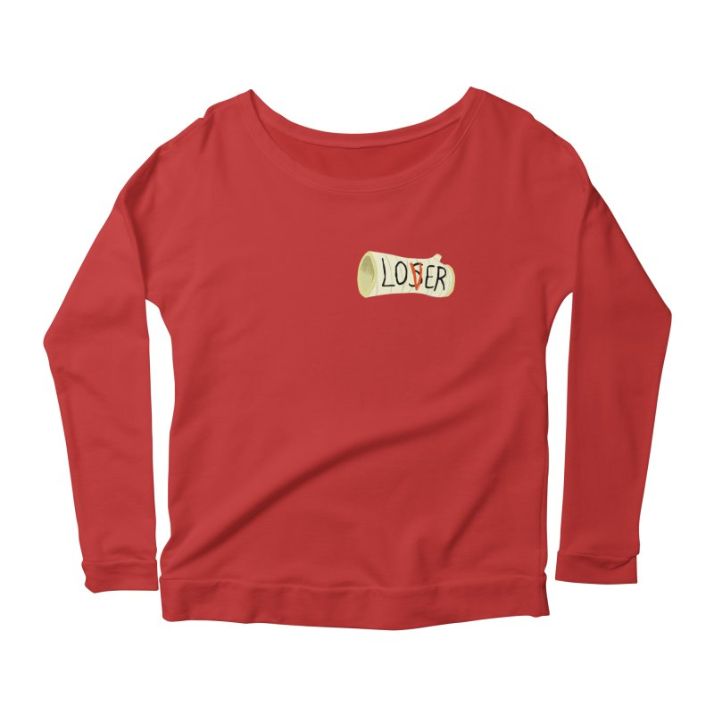 Losers club chest print Women's Scoop Neck Longsleeve T-Shirt by ZOMBIETEETH