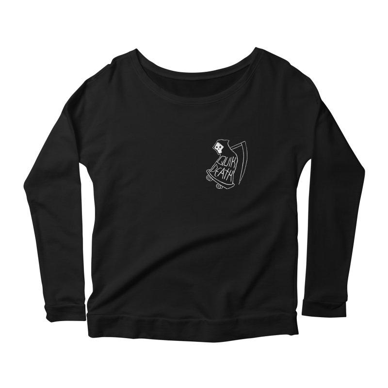 Quik Death chest print Women's Scoop Neck Longsleeve T-Shirt by ZOMBIETEETH
