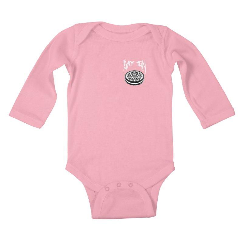 Say Ten chest print Kids Baby Longsleeve Bodysuit by ZOMBIETEETH