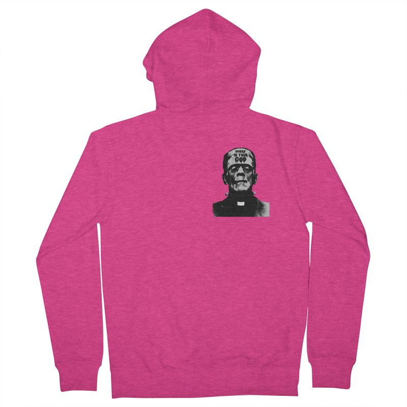 Where is your God chest print Women's French Terry Zip-Up Hoody by ZOMBIETEETH