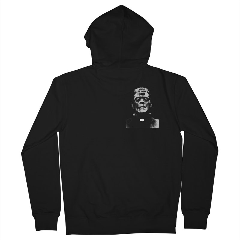 Where is your God chest print Men's French Terry Zip-Up Hoody by ZOMBIETEETH
