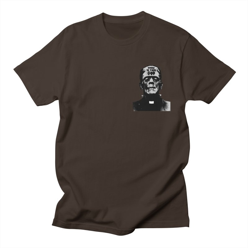 Where is your God chest print Men's Regular T-Shirt by ZOMBIETEETH