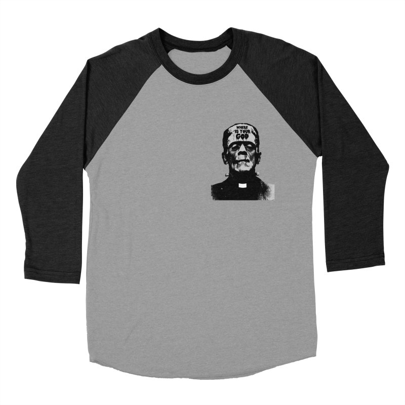 Where is your God chest print Women's Baseball Triblend Longsleeve T-Shirt by ZOMBIETEETH