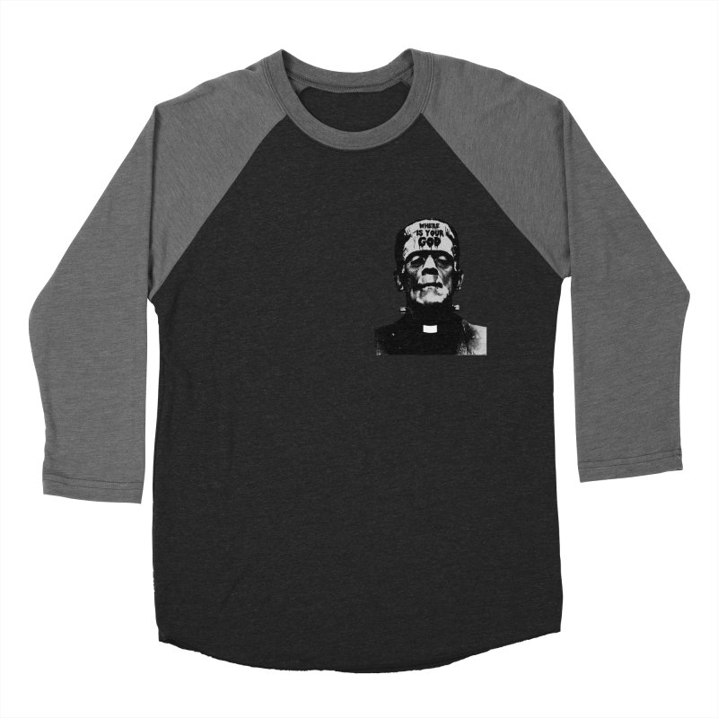 Where is your God chest print Men's Baseball Triblend Longsleeve T-Shirt by ZOMBIETEETH