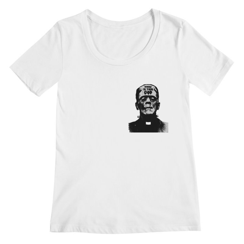 Where is your God chest print Women's Regular Scoop Neck by ZOMBIETEETH