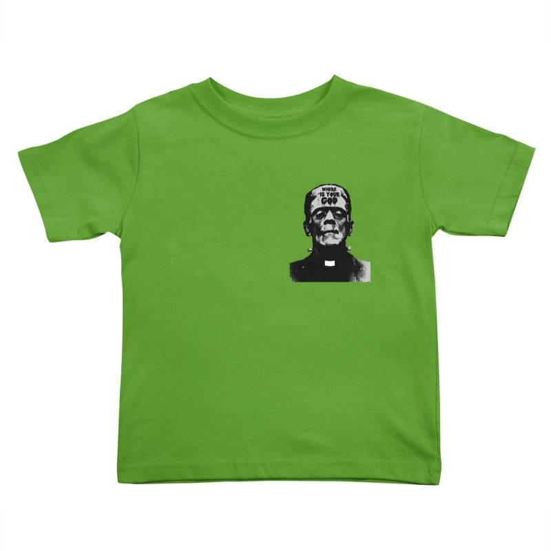 Where is your God chest print Kids Toddler T-Shirt by ZOMBIETEETH
