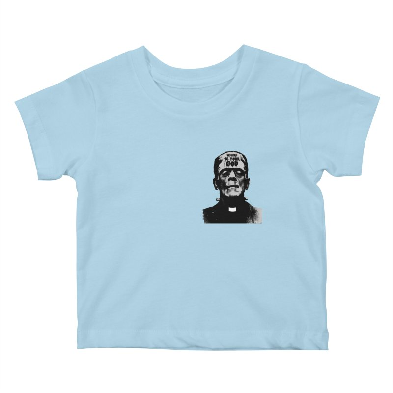 Where is your God chest print Kids Baby T-Shirt by ZOMBIETEETH