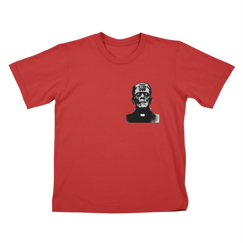 Where is your God chest print Kids T-Shirt by ZOMBIETEETH