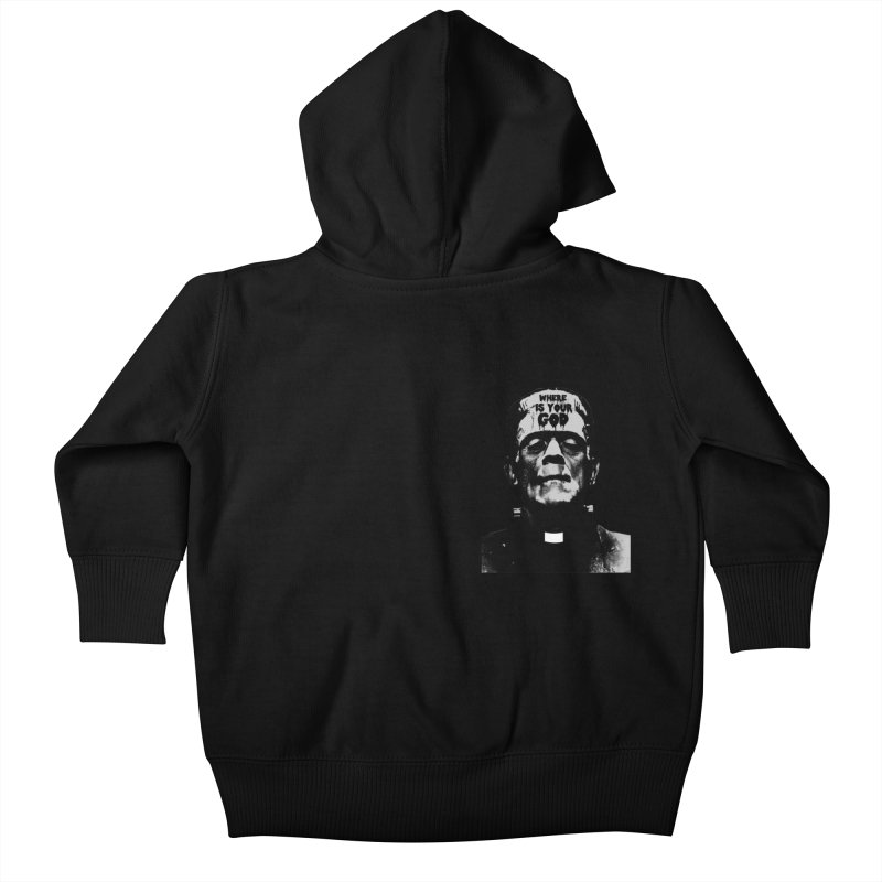 Where is your God chest print Kids Baby Zip-Up Hoody by ZOMBIETEETH