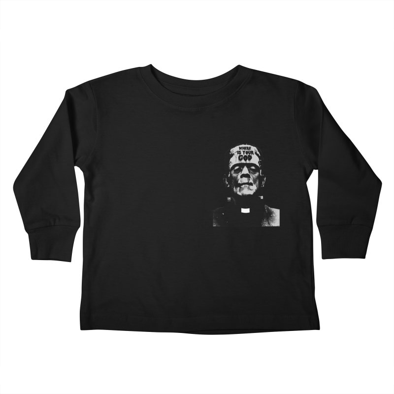 Where is your God chest print Kids Toddler Longsleeve T-Shirt by ZOMBIETEETH