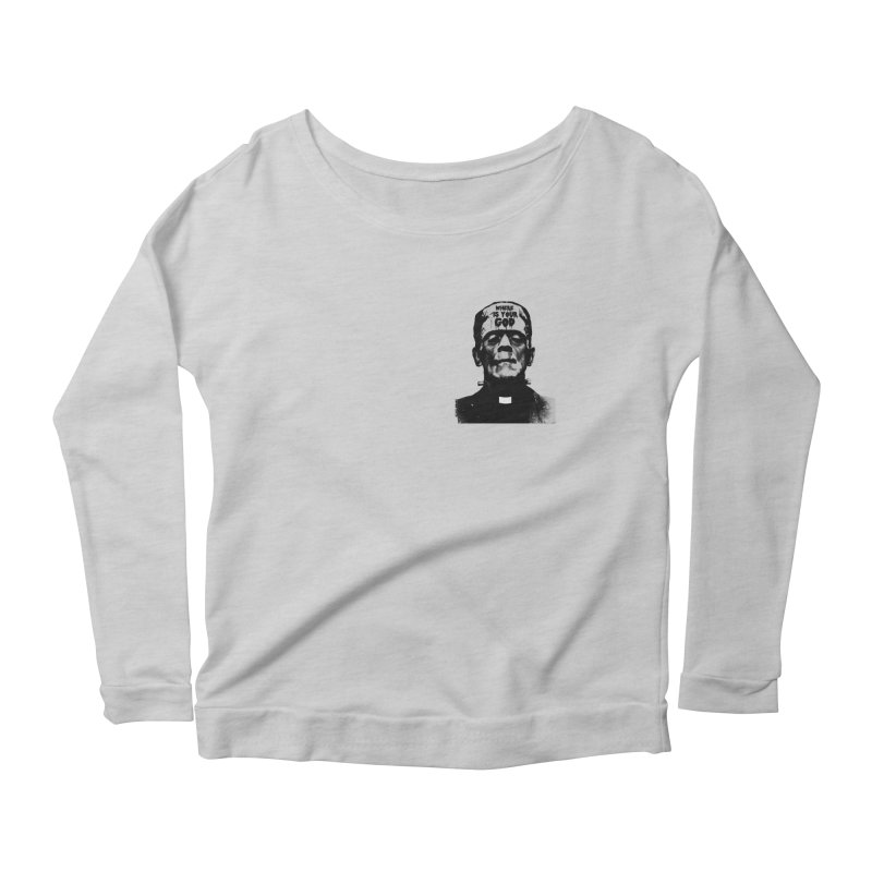 Where is your God chest print Women's Scoop Neck Longsleeve T-Shirt by ZOMBIETEETH