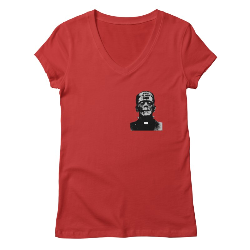 Where is your God chest print Women's Regular V-Neck by ZOMBIETEETH