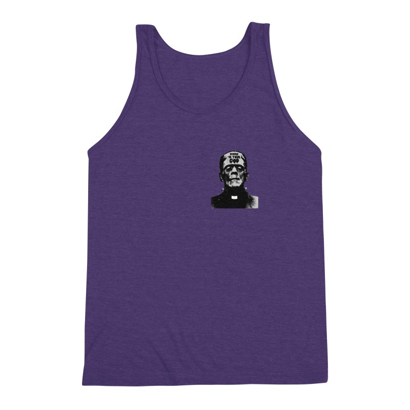 Where is your God chest print Men's Triblend Tank by ZOMBIETEETH