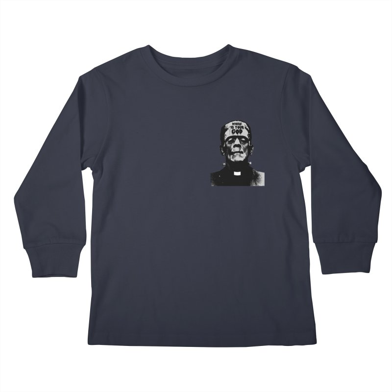 Where is your God chest print Kids Longsleeve T-Shirt by ZOMBIETEETH
