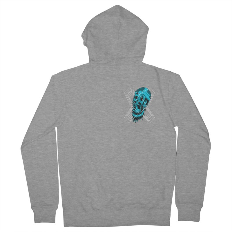 Zombeard 01 chest print Men's French Terry Zip-Up Hoody by ZOMBIETEETH