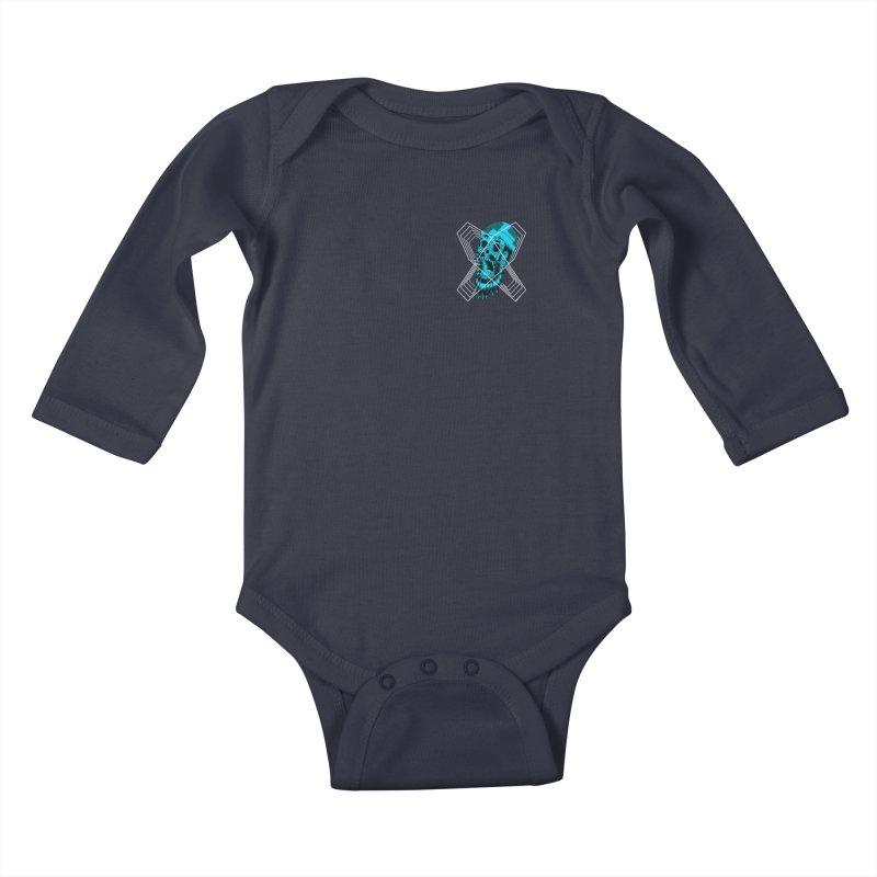 Zombeard 01 chest print Kids Baby Longsleeve Bodysuit by ZOMBIETEETH