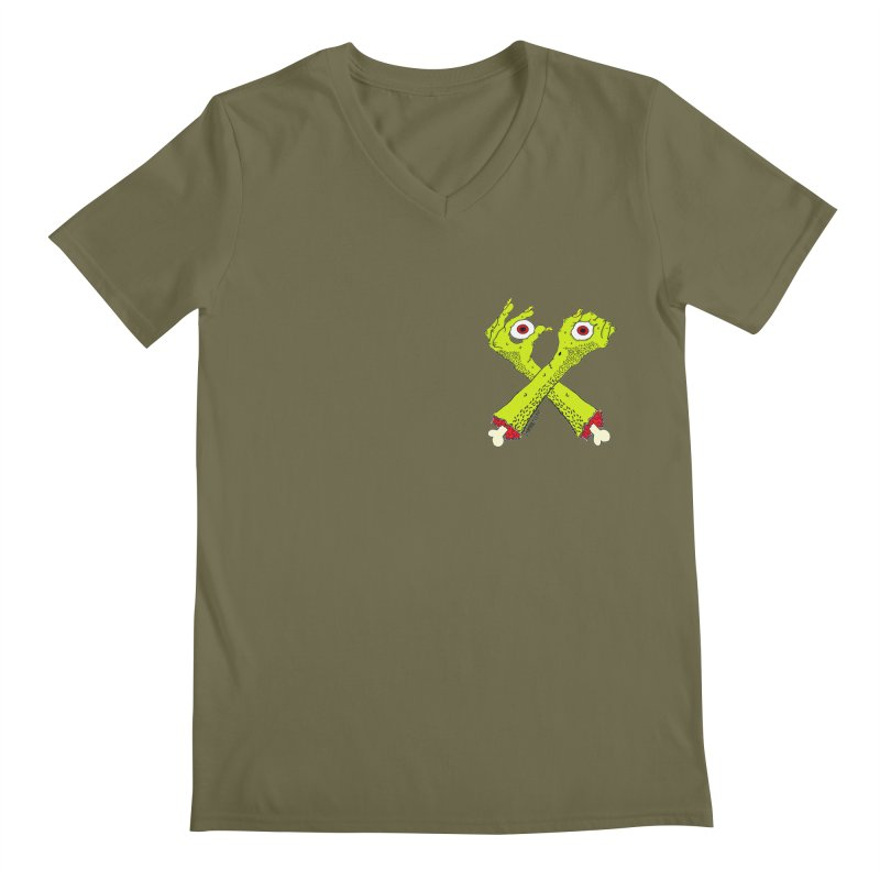 Zombie Arms chest print Men's Regular V-Neck by ZOMBIETEETH