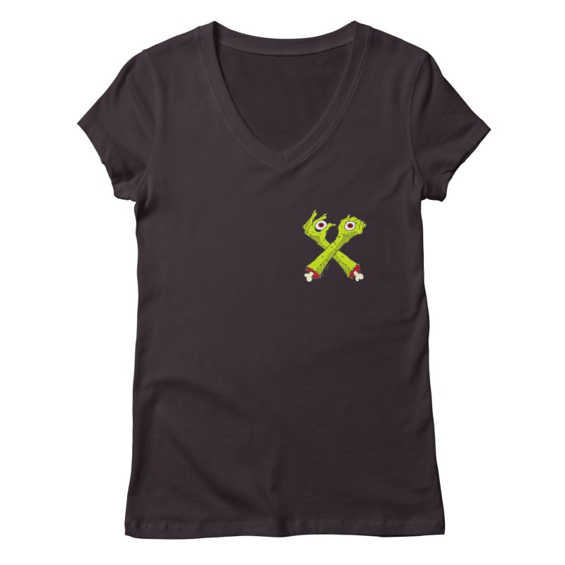 Zombie Arms chest print Women's Regular V-Neck by ZOMBIETEETH