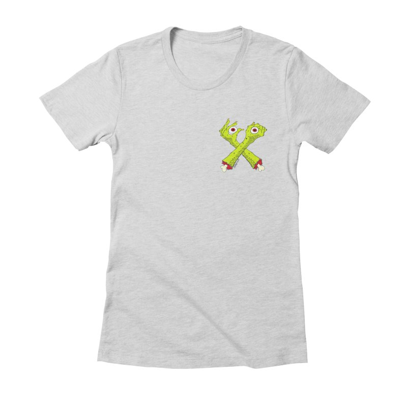 Zombie Arms chest print Women's Fitted T-Shirt by ZOMBIETEETH