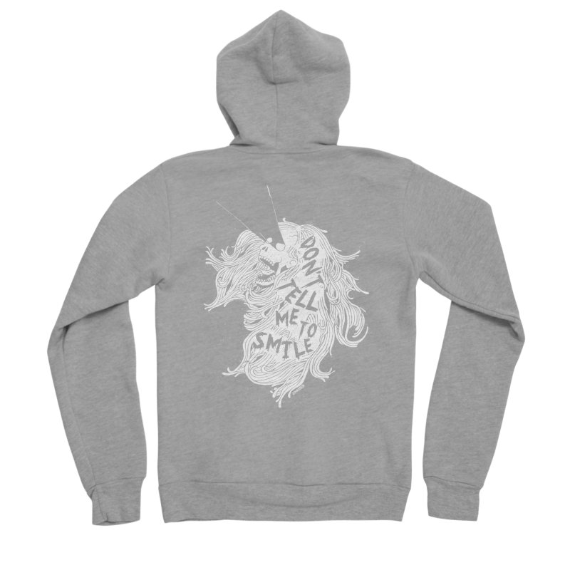 Don't tell me to smile Men's Sponge Fleece Zip-Up Hoody by ZOMBIETEETH