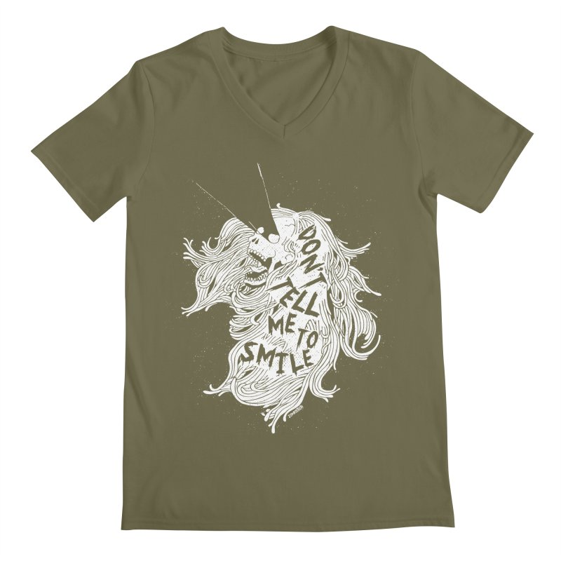 Don't tell me to smile Men's Regular V-Neck by ZOMBIETEETH