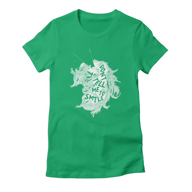 Don't tell me to smile Women's Fitted T-Shirt by ZOMBIETEETH
