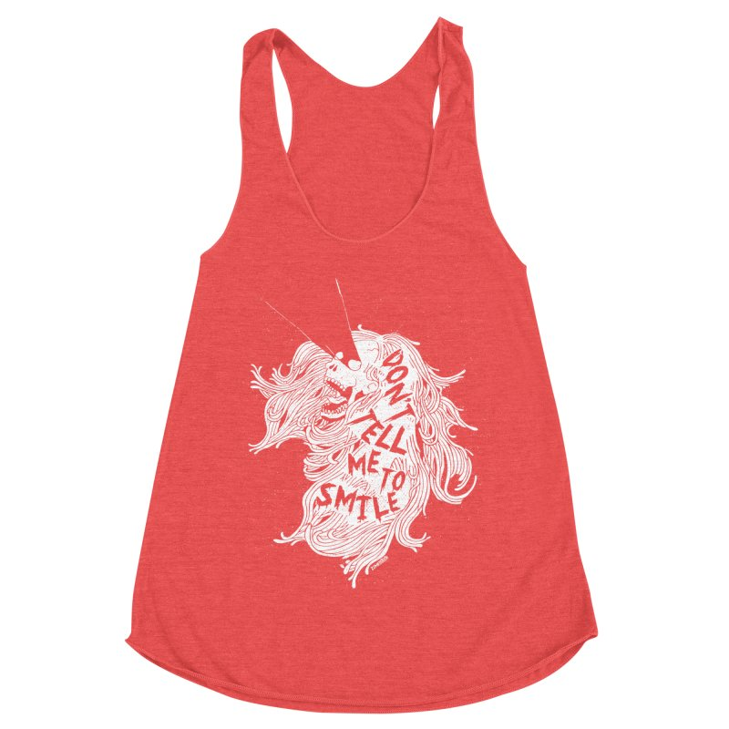 Don't tell me to smile Women's Racerback Triblend Tank by ZOMBIETEETH
