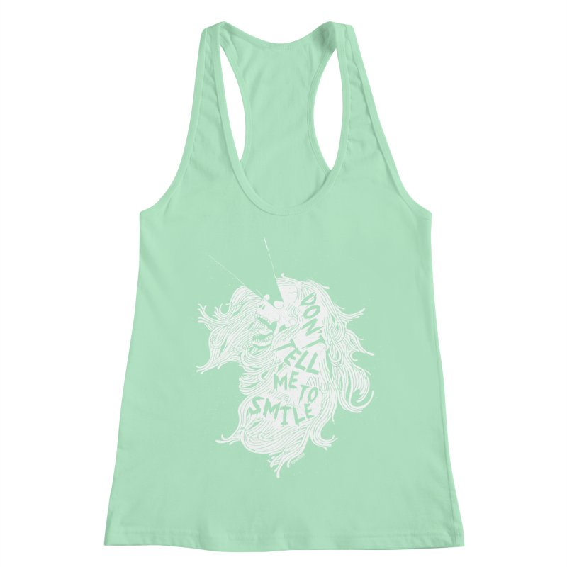 Don't tell me to smile Women's Racerback Tank by ZOMBIETEETH