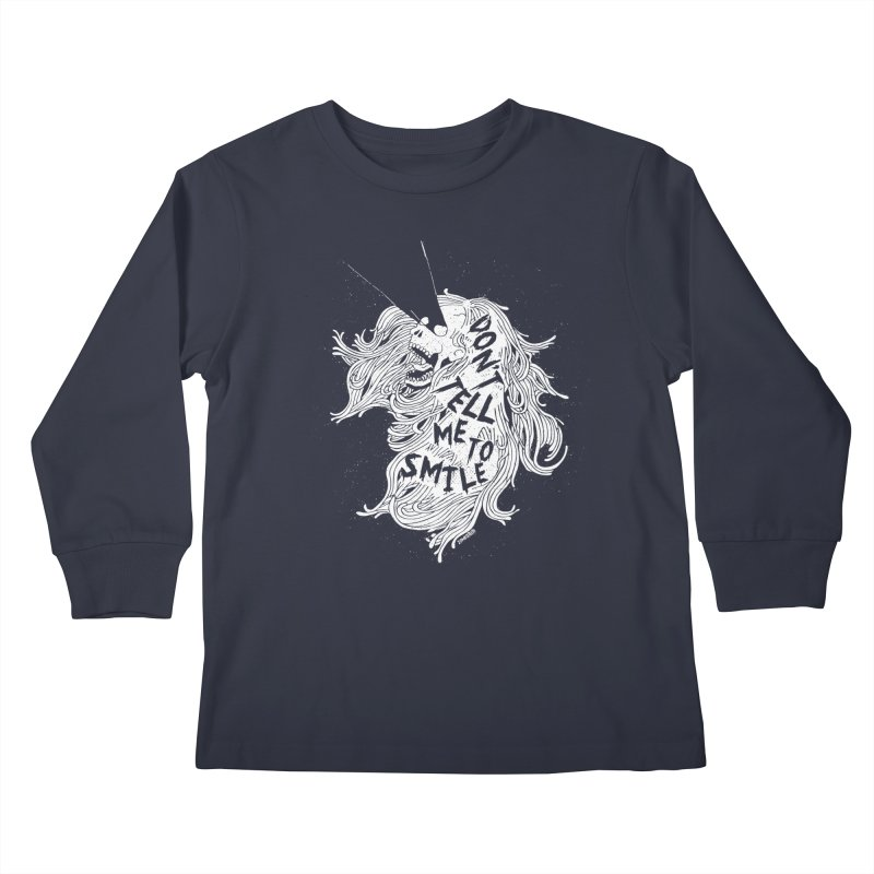 Don't tell me to smile Kids Longsleeve T-Shirt by ZOMBIETEETH