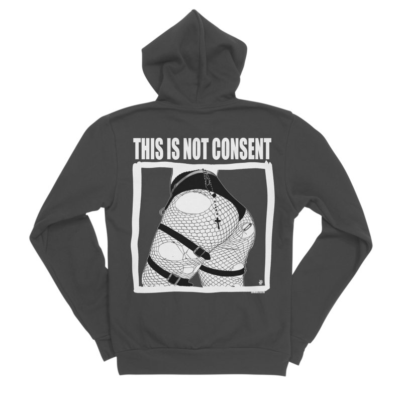 This is not consent (black) Men's Sponge Fleece Zip-Up Hoody by ZOMBIETEETH