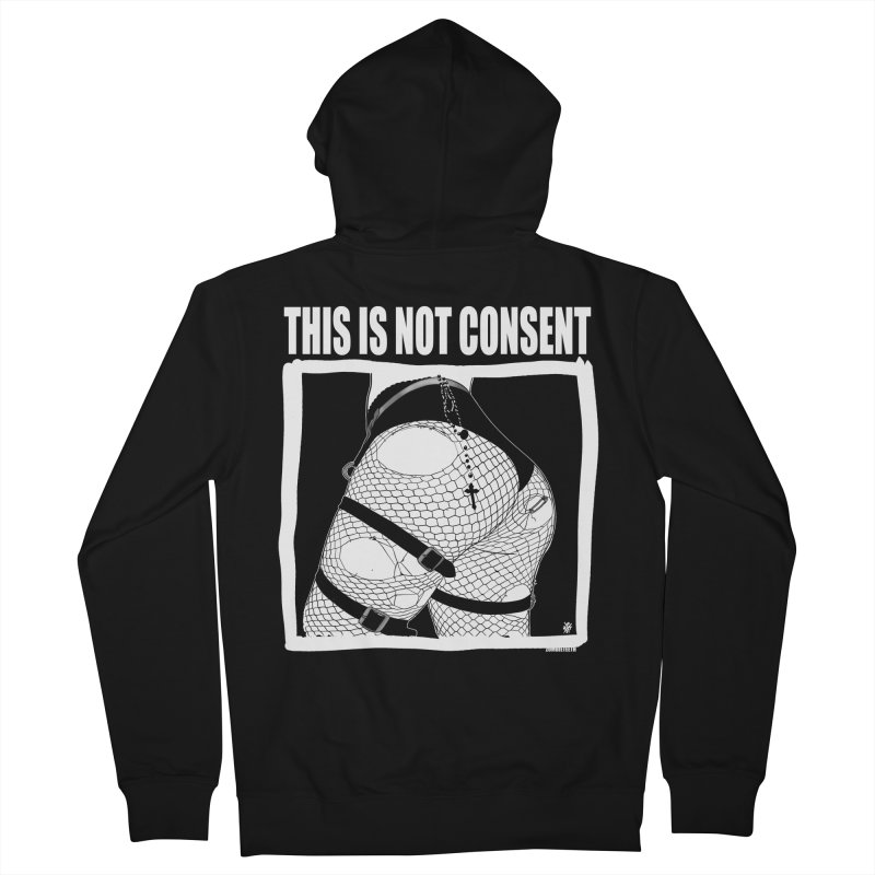 This is not consent (black) Men's French Terry Zip-Up Hoody by ZOMBIETEETH