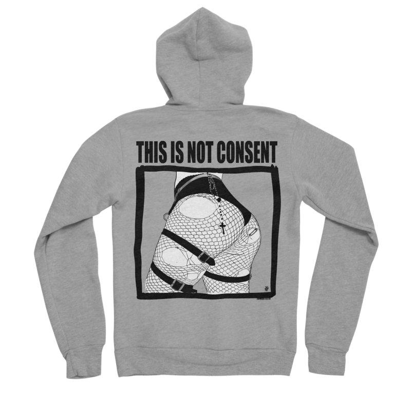 This is not consent (various colors) Men's Sponge Fleece Zip-Up Hoody by ZOMBIETEETH