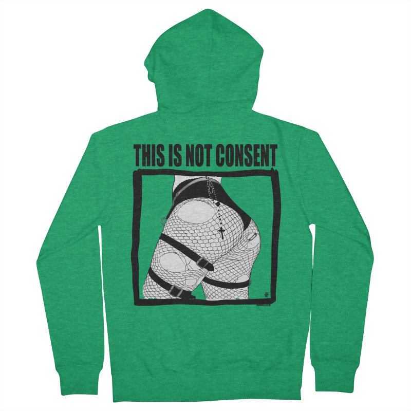 This is not consent (various colors) Men's French Terry Zip-Up Hoody by ZOMBIETEETH