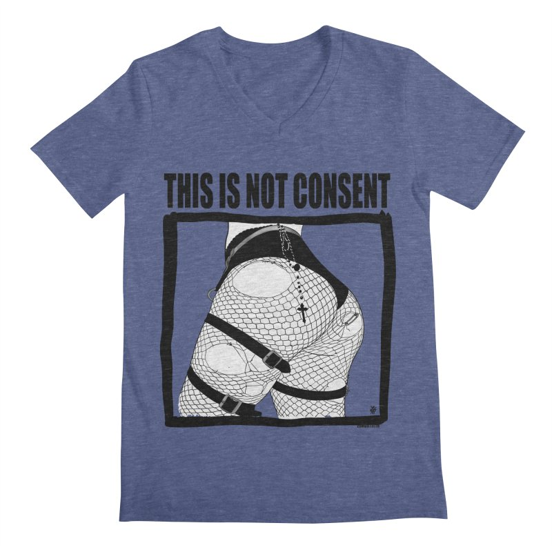 This is not consent (various colors) Men's Regular V-Neck by ZOMBIETEETH